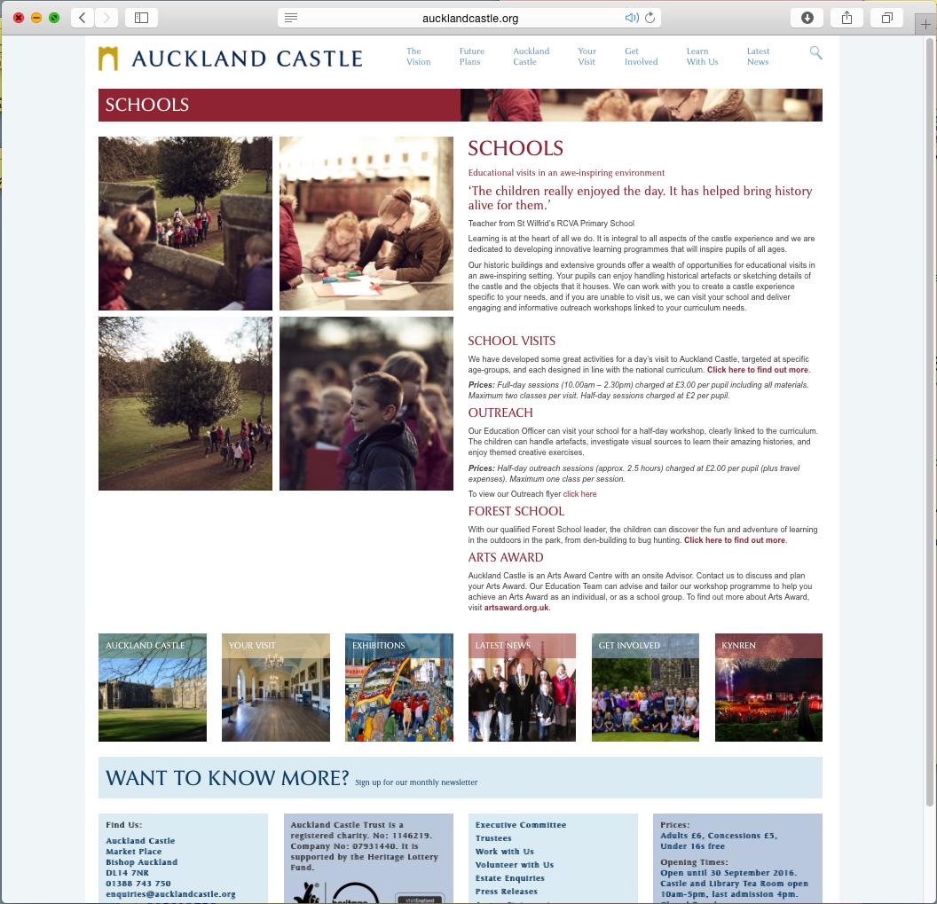 Auckland Castle school page